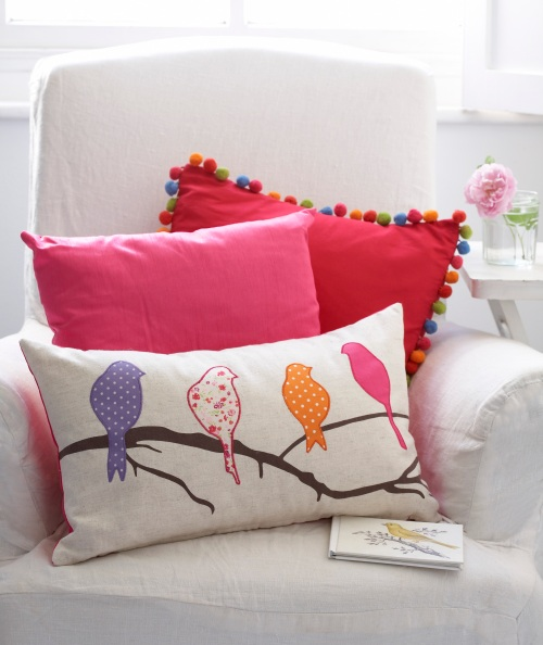 Tesco Embroidered Bird Cushion £9; Faux Silk Cushion In Fuchsia £5